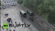 Ukraine: Drone footage shows LPR militias withdrawing mortars from frontline