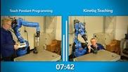 Kinetiq teaching vs Teach Pendant Programming - Robotiq [full Hd]