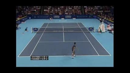 Димитров загуби от Федерер в Базел, но сбъдна мечтата си