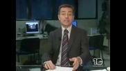 Бой в центр. емисия новини - зад кадър