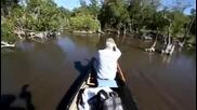 Мъж се плаши от крокодили
