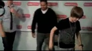 Justin Bieber does the glide with Jake and Ernie D on Radio Disney