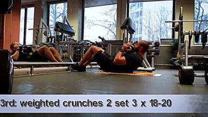90 дневна трансформация| Изграждане на мускул, горене на мазнини | Ден 12 - Корем,задно бедро,прасец