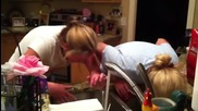 Lauren Wilburn and Kristi Crabb do the Cinnamon challenge