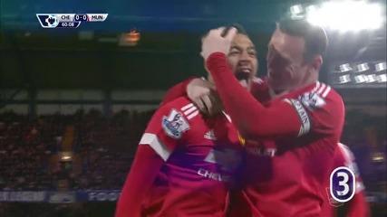 Джеси Лингард за 1:0 за Манчестър Юнайтед срещу Челси