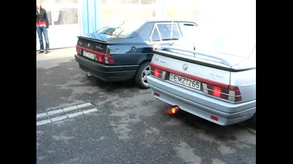 Alfa Romeo 75 огън от ауспуха