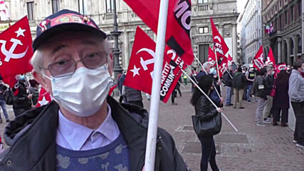 Italy: Communist Party members hold Milan rally against Draghi government