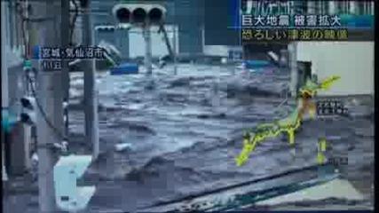 Кадри от цунамито в Япония