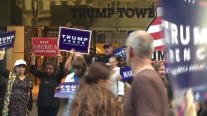 USA: Anti-Trump rally hijacked by The Donald's fans outside Trump Tower