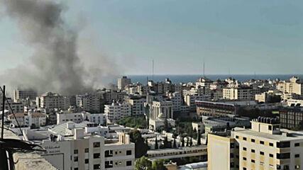 State of Palestine: Israeli air strikes destroy bank in Gaza City