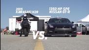 Kawasaki Ninja H2r срещу Mclaren Mp4-12c, Bugatti Veyron и Nissan Gt-r