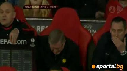 Табло падна върху крака на Фърги на мача с Атлетик Билбао