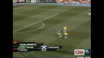 Два гола на звезда на Бразилия Неймар и 2:0 срещу Шотландия