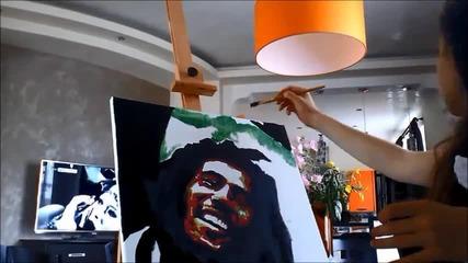 Надя рисува Bob Marley поп арт портрет