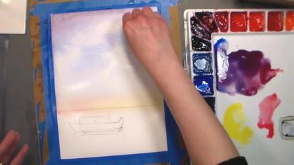 Как да нарисуваме залез с акварел /урок от Lindsay Weirich/