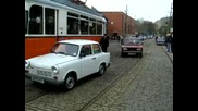 Trabant - East Berlin tram passed by Tatra Munga at Crich Tramway