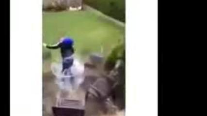 Stupid Kid jumps through glass table