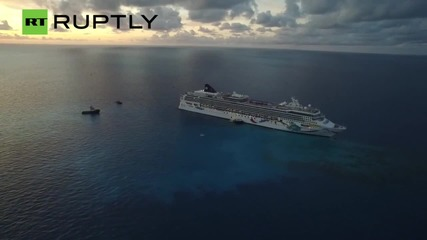 Drone Footage of Norwegian Dawn Cruise Ship Stuck on Bermuda Reef