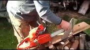 Хитър начин за използване бензинопил за бързо рязане на дърва