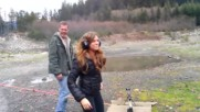 Very Hot Girl shooting .50 Cal rifle