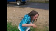 Litlle girl doing cinnamon challenge
