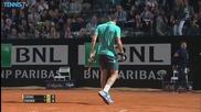 Roger Federer Hits a Hot Shot Against Pablo Cuevas - Rome 2015