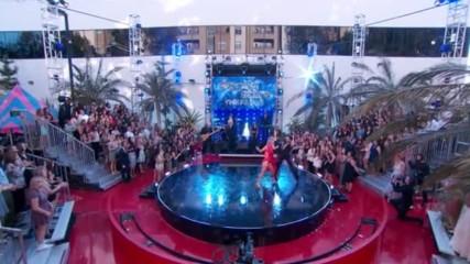 Heather Morris and Maks Chmerkovskiy dance while Tlc performs Waterfalls