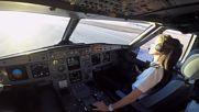 Красива жена пилот приземява Еърбъс А320
