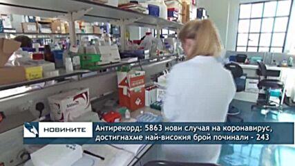 Антирекорд: 5863 нови случая на коронавирус, достигнахме най-високия брой починали - 243