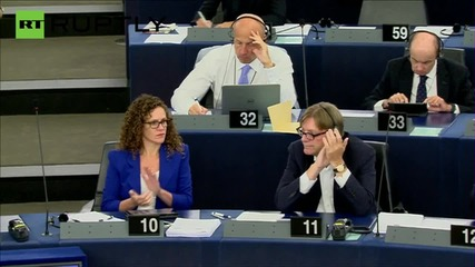 Juncker heckled by Farage and 'Merkel' during European Parliament address