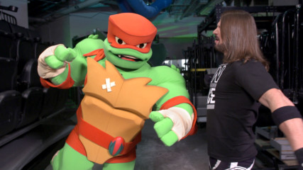 "AJ Styles teaches Raphael from ""Rise of the Teenage Mutant Ninja Turtles"" some Phenomenal moves"