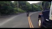 Ромео и Жулиета за малко да загинат изпълнявайки опасен трик с мотор