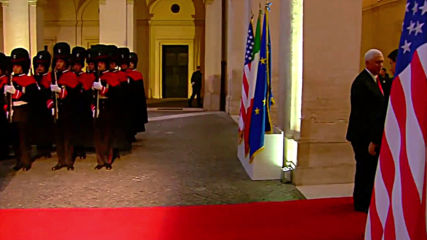 Italy: US Vice-President Mike Pence greeted by PM Conte in Rome visit