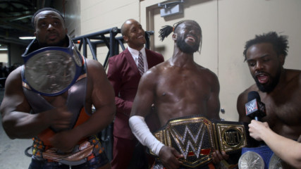 Byron Saxton celebrates with The New Day at WWE Extreme Rules: WWE.com Exclusive, July 14, 2019