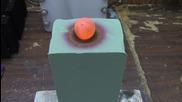 Нагорещена топка никел произвежда странни резултати върху пяна.