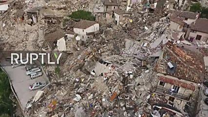 Дрон показва мащаба на разрушенията в Италия