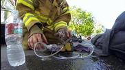 Пожарникар намира малко коте ... и прави всичко възможно за да го спаси !!!