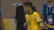 Неймар се сдърпва с играч на Уругвай и му праща въздушна целувка | 27.06.13