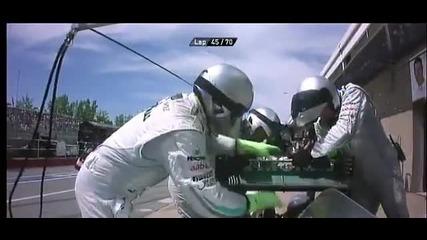 F1 Гран при на Канада 2012 - Schumacher има проблем с Drs и бива прибран в гаража 2 [hd]