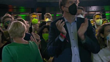 Germany: Greens celebrate as election exit polls released in Berlin