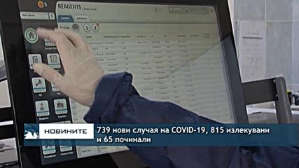 739 нови случая на COVID-19, 815 излекувани и 65 починали