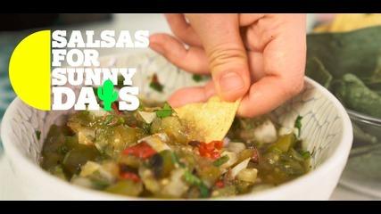 Salsas for Sunny Days: Chopped roasted tomatillo