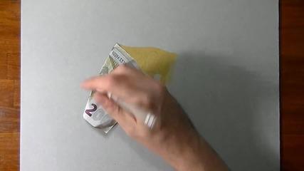 Мъж рисува 3d банкнота от 200 евро