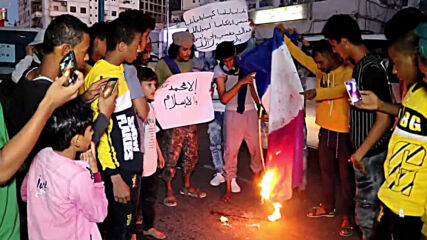 Yemen: Protesters burn French flag following Macron's Islam comments in Aden