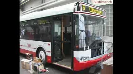 Ремонт на автобус Solaris след инцидент.