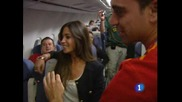 Давид Вия , Пепе Рейна И Серхио Рамос Купонясват Яко в самолета!