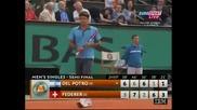 Ролан Гарос - Моменти от мача на Федерер срещу Дел потро