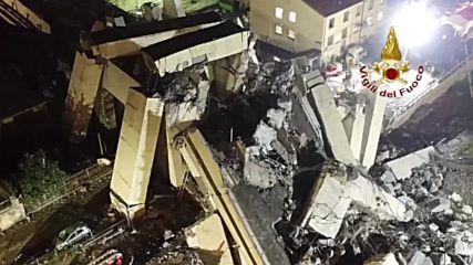 Италия: Дрон показва как търсят оцелели през нощта в Генуа