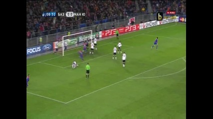 Базел - Манчестър Юнайтед 1-ви гол за Базел Стрелер
