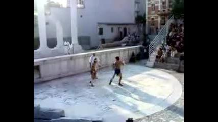 Пловдив - Постановка на гладиаторски игри на одеона (част2)